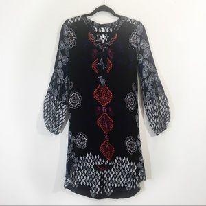 Free People Boho Print Small High Low  Dress Black
